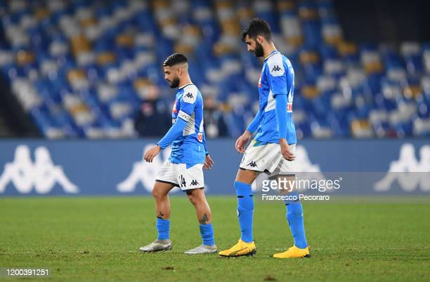 Sebastiano Luperto and Lorenzo Insigne of SSC Napoli stand disappointed after the Serie A match between SSC Napoli and ACF Fiorentina at Stadio San...