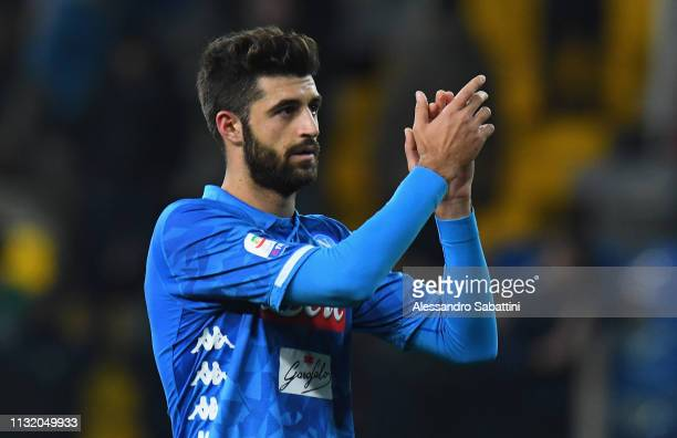 Sebastiano Luperto of SSC Napoli celebrates the victory after the Serie A match between Parma Calcio and SSC Napoli at Stadio Ennio Tardini on...