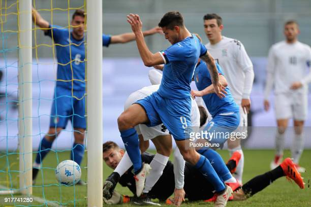 Sebastiano Rossi of Italy U20 in action during the friendly match between Italy U20 and Team Lega B on February 13 2018 in Frosinone Italy