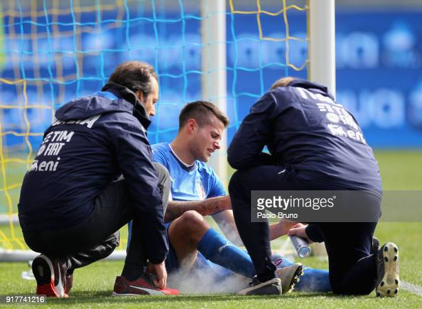 Sebastiano Rossi of Italy U20 is injured during the friendly match between Italy U20 and Team Lega B on February 13 2018 in Frosinone Italy