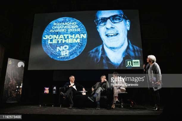 Sebastiano Triulzi Writer Jonathan Lethem and Marina Fabbri attend The Raymond Chandler Award 2019 ceremony on December 07 2019 in Como Italy