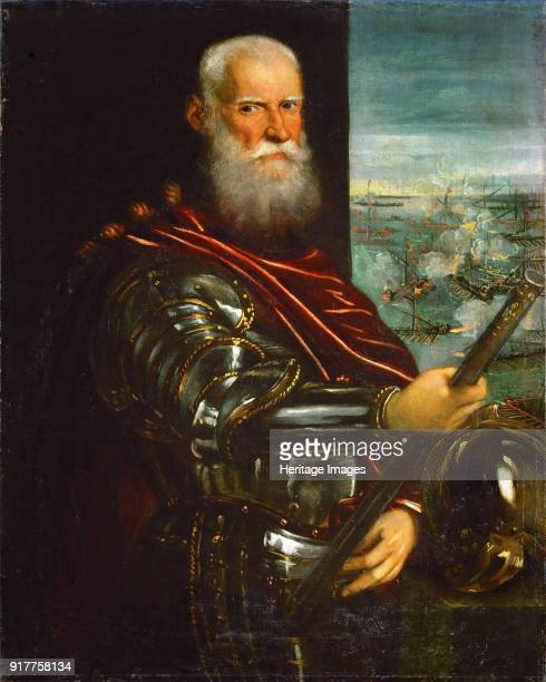 Sebastiano Venier with the Battle of Lepanto in background Found in the Collection of Art History Museum Vienne