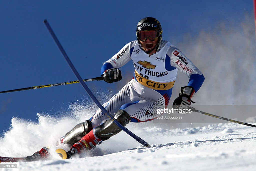 Sebastien Amiez of France in action during the Mens FIS Alpine World Cup Slalom on November 23, 2003 at Park City ski resort in Park City, Utah.