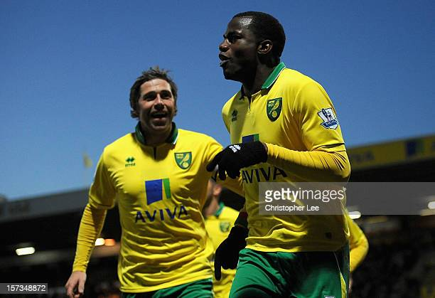Sebastien Bassong of Norwich City celebrates scoring the opening goal with team mate Grant Holt during the Barclays Premier League match between...