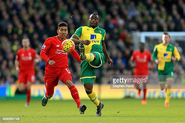 Sebastien Bassong of Norwich City controls the ball under pressure of Roberto Firmino of Liverpool during the Barclays Premier League match between...
