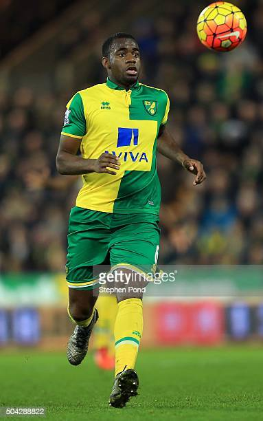 Sebastien Bassong of Norwich City during the Barclays Premier League match between Norwich City and Aston Villa at Carrow Road stadium on December 28...