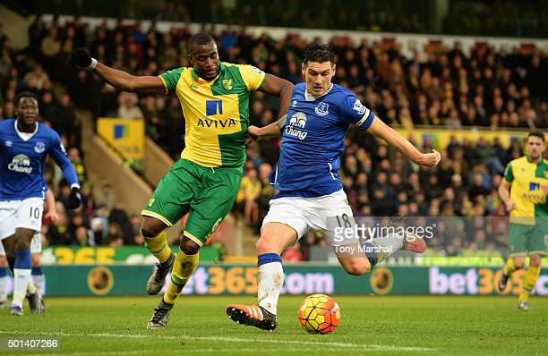 Sebastien Bassong of Norwich City tackles Gareth Barry of Everton during the Barclays Premier League match between Norwich City and Everton at Carrow...