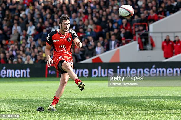 Sebastien Bezy for Toulouse takes a penalty kick during the French Top 14 rugby union match between Toulouse v Racing 92 at Stade Ernest Wallon on...