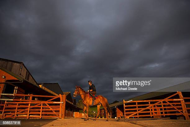 Sebastien Boelens heads towards the gallops on Imperial Presence at Sandhill Racing Stables on September 17 2015 at Sandhill Racing Stables in...