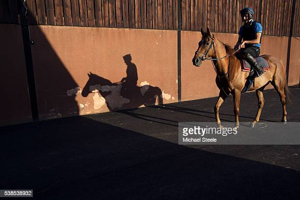 Sebastien Boelens riding Imperial Presence heads out for first lot at Sandhill Racing Stables on August 18 2015 in Minehead England Sandhill Racing...