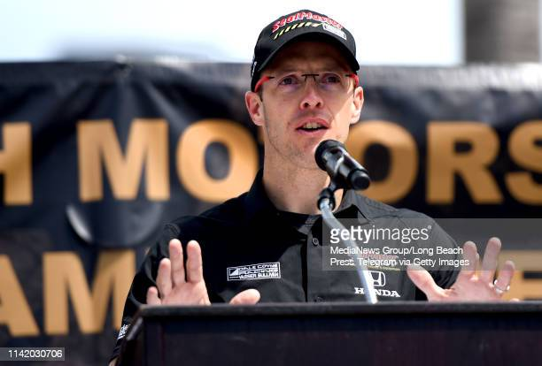 Sebastien Bourdais addresses the crowd as he is inducted into Long Beach Motorsports Walk of Fame in Long Beach on Thursday April 11 2019