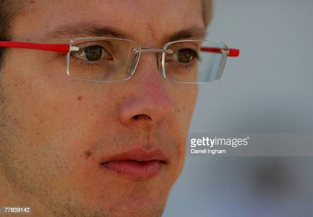 Sebastien Bourdais driver of the McDonald's Newman Haas Lanigan Racing Panoz DP01 looks on during practice for the ChampCar World Series Grand Premio...