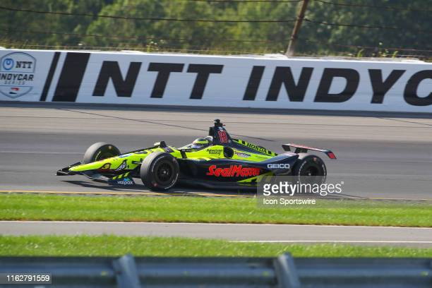 Sebastien Bourdais driver of the SealMaster Honda drives during the IndyCar Series ABC Supply 500 on August 18 2019 at Pocono Raceway in Long Pond Pa