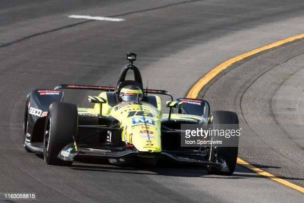 Sebastien Bourdais driver of the SealMaster Honda races into turn 3 during the ABC Supply 500 on August 18 at Pocono Raceway in Long Pond PA