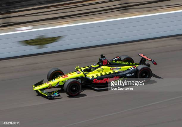 Sebastien Bourdais driver of the Team SealMaster Honda on the track during his qualifying run for the 2018 Indianapolis 500 at the Indianapolis Motor...