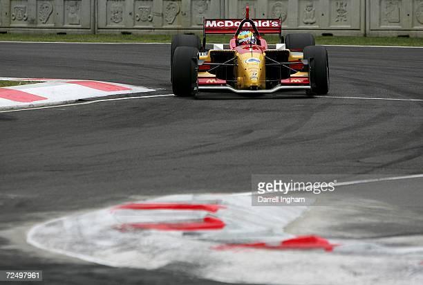 Sebastien Bourdais drives the Newman Haas Racing Lola Cosworth during practice for the Champ Car World Series Gran Premio Telmex at the Autodromo...