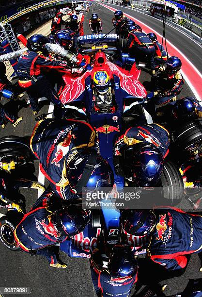 Sebastien Bourdais of France and Scuderia Toro Rosso comes in for a pitstop during the Spanish Formula One Grand Prix at the Circuit de Catalunya on...