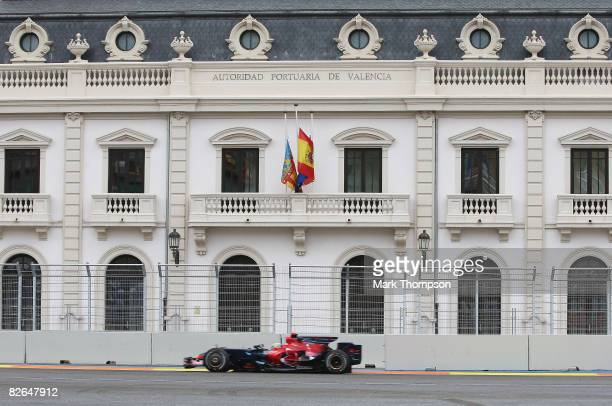 Sebastien Bourdais of France and Scuderia Toro Rosso in action during qualifying for the European Formula One Grand Prix at the Valencia Street...