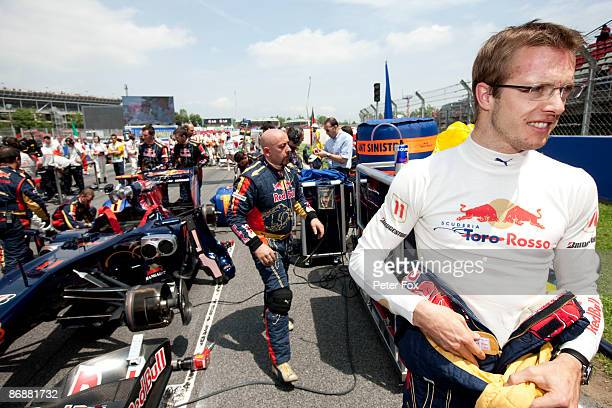 Sebastien Bourdais of France and Scuderia Toro Rosso is seen on the grid before the Spanish Formula One Grand Prix at the Circuit de Catalunya on May...