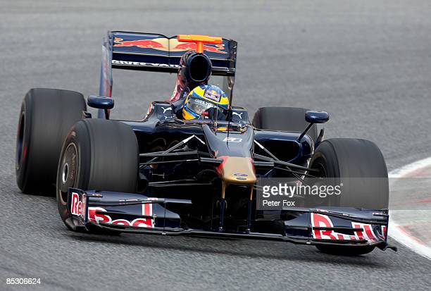 Sebastien Bourdais of France and team Toro Rosso drives the new STR 4 F1 car at the Circuit de Catalunya on March 9, 2009 in Barcelona, Spain.