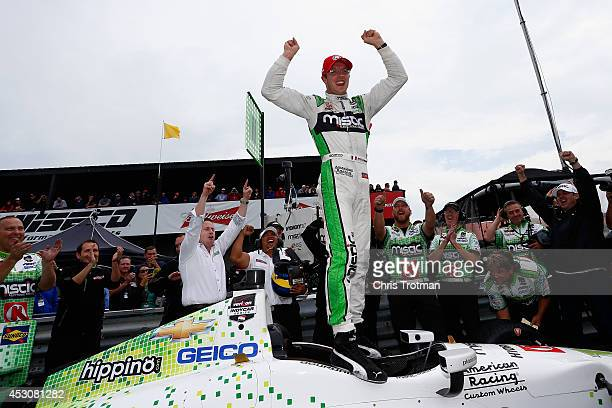 Sebastien Bourdais of France driver of the KVSH Racing Dallara Chevrolet celebrates winning the Verizon P1 Pole Award for the Verizon IndyCar Series...