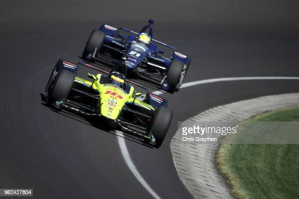 Sebastien Bourdais of France driver of the Team SealMaster Honda drives during Carb Day for the 102nd running of the Indianapolis 500 at Indianapolis...
