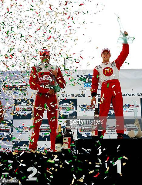 Sebastien Bourdais punches the air in celebration with second placed Justin Wilson after victory during the ChampCar World Series Gran Premio Telmex...