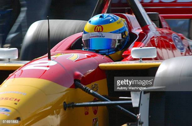 Sebastien Bourdias of France drives during practice and qualifying for the CART series GP at the Autodromo Hermanos Rodriguez November 6 2004 in...