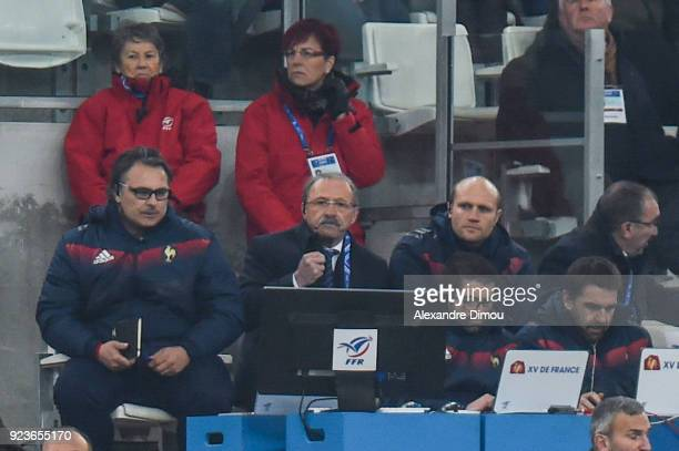 Sebastien Bruno head coach Jacques Brunel and Julien Bonnaire of France during the NatWest Six Nations match between France and Italy at Stade...
