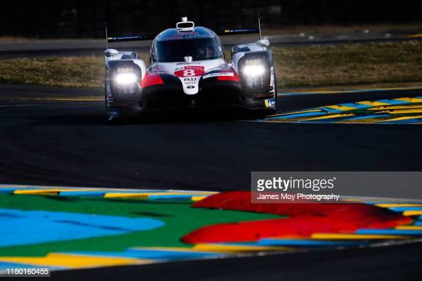 Sebastien Buemi / Kazuki Nakajima / Fernando Alonso Toyota Gazoo Racing Toyota TS050 Hybrid in action on June 13, 2019 in Le Mans, France.
