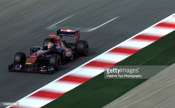 Sebastien Buemi of Switzerland and Scuderia Toro Rosso drives during the Formula One testing at Circuit de Catalunya on March 9, 2011 in Barcelona,...