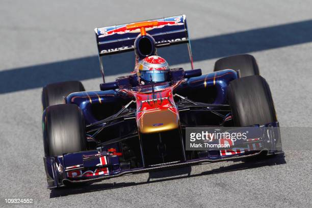 Sebastien Buemi of Switzerland and Scuderia Toro Rosso in action during Formula 1 testing at the circuit De Catalunya on February 21 2011 in...