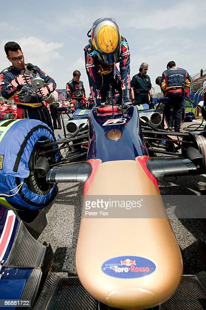 Sebastien Buemi of Switzerland and Scuderia Toro Rosso is seen on the grid before the Spanish Formula One Grand Prix at the Circuit de Catalunya on...