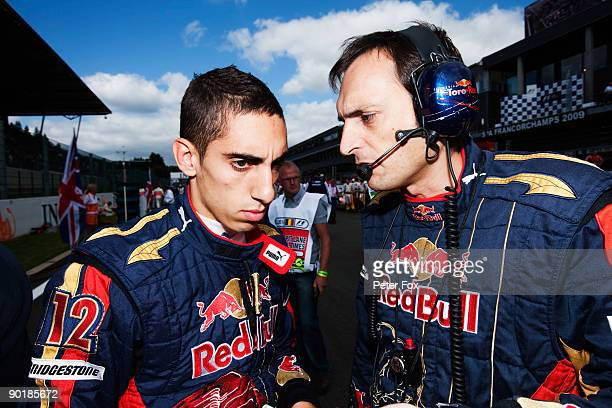 Sebastien Buemi of Switzerland and Scuderia Toro Rosso prepares on the grid before driving during the Belgian Grand Prix at the Circuit of Spa...