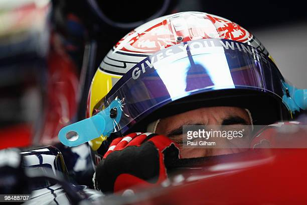 Sebastien Buemi of Switzerland and Scuderia Toro Rosso prepares to drive during practice for the Chinese Formula One Grand Prix at the Shanghai...