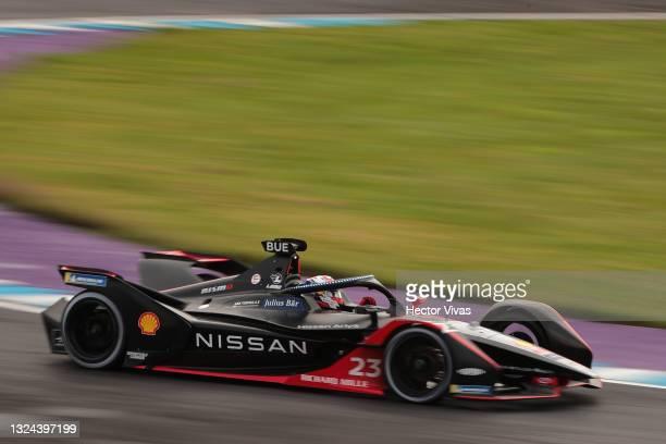 Sebastien Buemi of Switzerland drives the Nissan E.DAMS during the ABB FIA Formula E Championship - Puebla E-Prix Round 8 at Autodromo Miguel E Abed...
