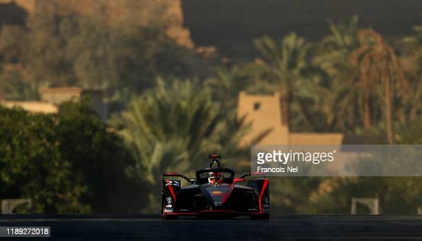 Sebastien Buemi of Switzerland driving the Nissan IM02 and Team Nissan e.dams on track during practice ahead of ABB FIA Formula E Championship -...