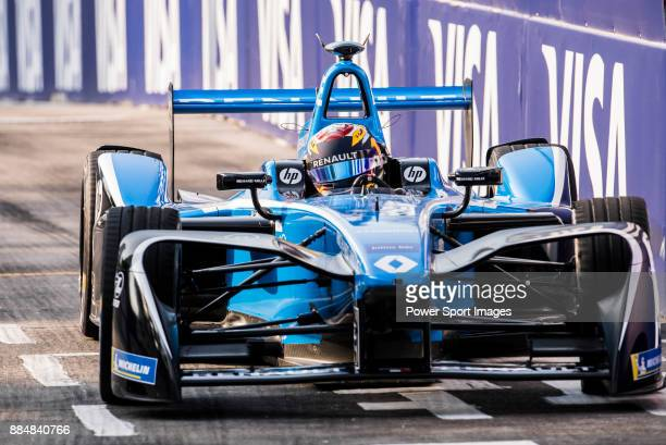 Sebastien Buemi of Switzerland from Renault edams competes during the FIA Formula E Hong Kong EPrix Round 2 at the Central Harbourfront Circuit on 03...