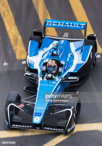 Sebastien Buemi of Switzerland from Renault edams on track at the Formula E NonQualifying Practice 3 during the FIA Formula E Hong Kong EPrix Round 2...