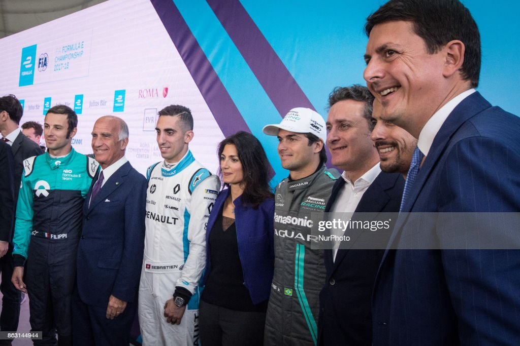 Sebastien Buemi, Virginia Raggi, Nelson Piquet, Alejandro Agag pose during a press conference in Rome, Italy on October 19, 2017. Rome will be hosting a Formula E world championship race next April 2018.