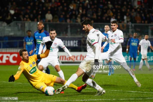 Sebastien CALLAMAND of Bourg and Martin TERRIER of Lyon during the French Cup match between Bourg en Bresse and Lyon on January 4, 2020 in...