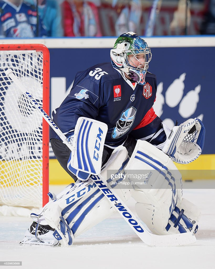Sebastien Caron #35 of Hamburg Freezers warms-up before the Champions Hockey League group stage game between Hamburg Freezers and Lulea HF on August 22, 2014 in Hamburg, Germany.