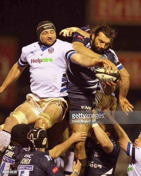 Sebastien Chabal of Sale catches the ball in the lineout despite the challenge from Steve Borthwick during the Guinness Premiership match between...