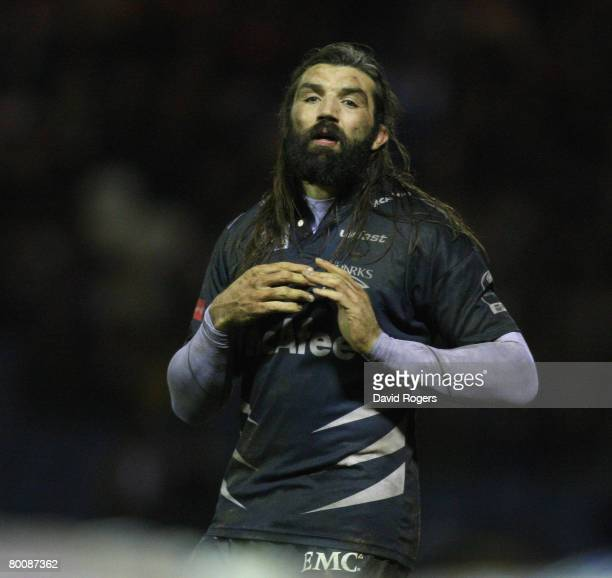 Sebastien Chabal of Sale pictured during the Guinness Premiership match between Sale Sharks and Worcester Warriors at Edgeley Park on February 29,...