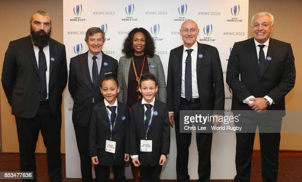 Sebastien Chabal The Minister of Sport Laura Flessel President of the French Rugby Federation Bernard Laporte Director French Bid for the World Cup...