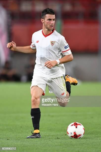 Sebastien Corchia of Sevilla FC in action during the preseason friendly match between Kashima Antlers and Sevilla FC at Kashima Soccer Stadium on...