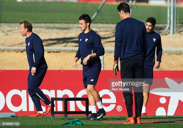 Sebastien Corchia of Sevilla FC in action during the training of Sevilla FC prior to their Champions League match against Liverpool FC at the Sevilla...