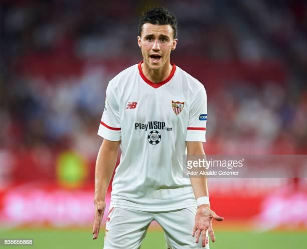 Sebastien Corchia of Sevilla FC reacts during the La Liga match between Sevilla and Espanyol at Estadio Ramon Sanchez Pizjuan on August 19 2017 in...