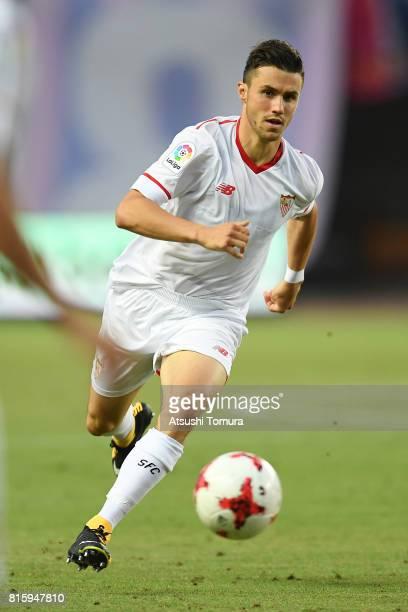 Sebastien Corchia of Sevilla FC runs with the ball during the preseason friendly match between Cerezo Osaka and Sevilla FC at Yanmar Stadium Nagai on...