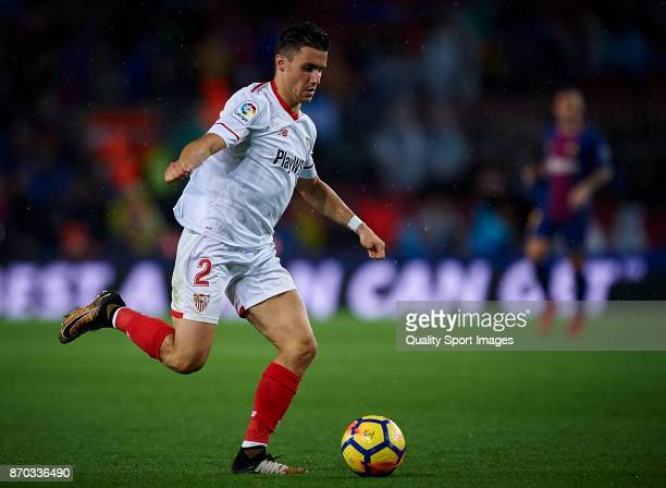 Sebastien Corchia of Sevilla in action during the La Liga match between Barcelona and Sevilla at Camp Nou on November 4 2017 in Barcelona Spain